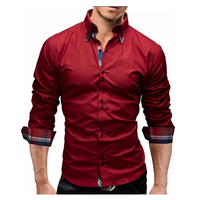 Men S Shirt Brand 2017 Male Autumn Long Sleeve Shirts Casual Hit Color Dress Shirt Slim