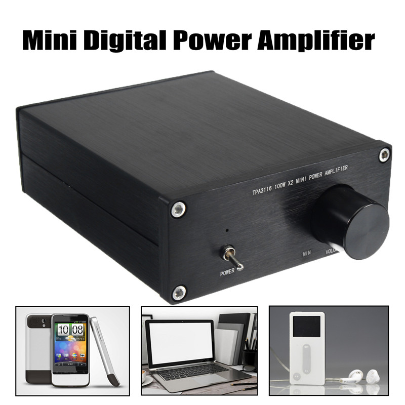 Mini Digital Power Amplifier HiFi TPA3116 Class 2.0 Audio Stereo 2-Channel 100Wx2 Black 12-25V Mini Home Aluminum Enclosure Amp