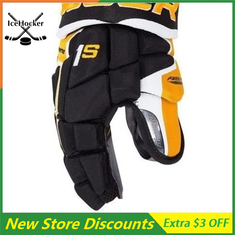 New Arrival Ice Hockey Gloves Black/Gold Supreme series 1 Senior 13 14 Free ShippingNew Arrival Ice Hockey Gloves Black/Gold Supreme series 1 Senior 13 14 Free Shipping
