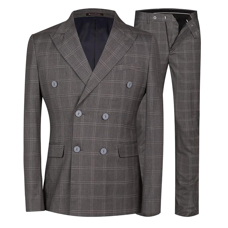 YUNCLOS 2 Pieces Classic Plaid Wedding Suit For Men Double Breasted Slim Fit  Men Tuxedos Party Dress Men Suit with Pant
