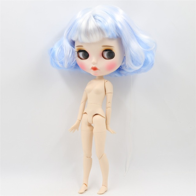 Factory Neo Blythe Doll Short Light Blue White Hair Jointed Body 30cm