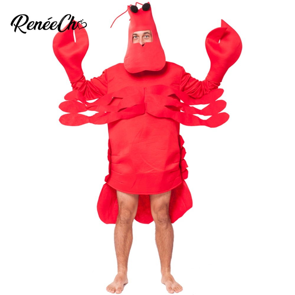 Adult Lobster Costume Mens Ladies Crustacean Sea Life Seafood Fancy Dress Outfit