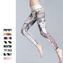 Sport Trousers Pants Women Elastic Printed Yoga Leggings Running Tights Gym  Fitness D63