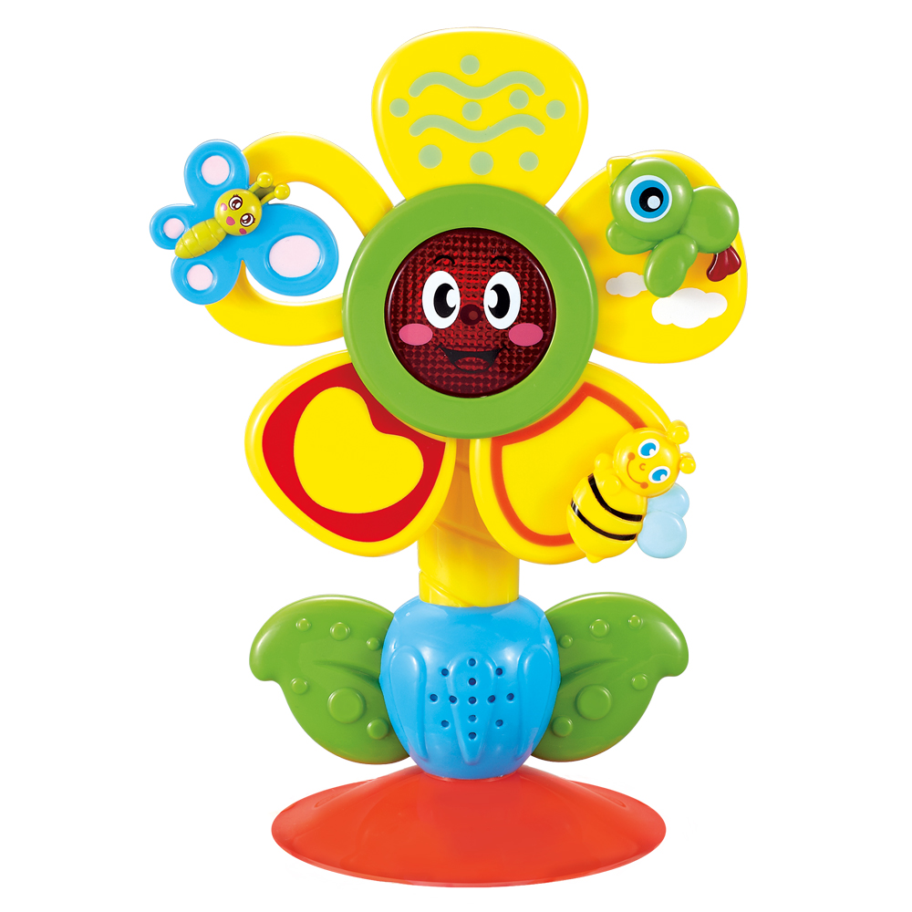 Toy musical on the sucker FUN FLOWER Happy Baby 330072 plastic electric dancing butterfly around flower cat toy