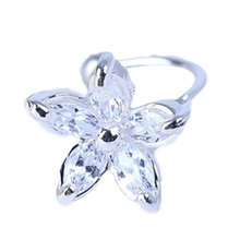1pc Women's Fashion Outstanding Cz Crystal Flower U Shape Ear Cuff Clip-on No Piercing Earring