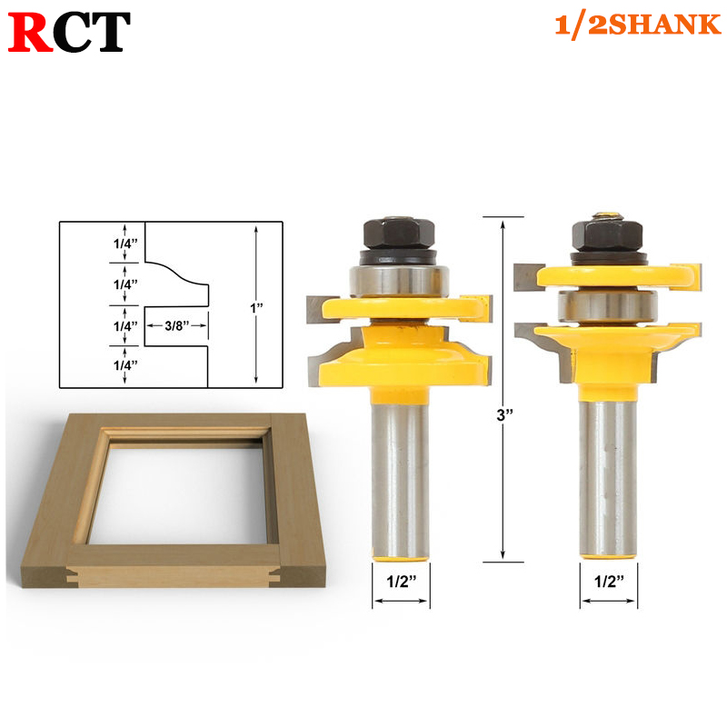 1/2 Shank Rail & Stile Router Bits-Matched 2 Bit Standard Ogee door knife Woodworking cutter Tenon Cutter for Woodworking Tools 2 pcs 1 2t type shank 3teeth tenon cutter 4mm reversible glue bits of high quality dovetail router bits box joint router bit
