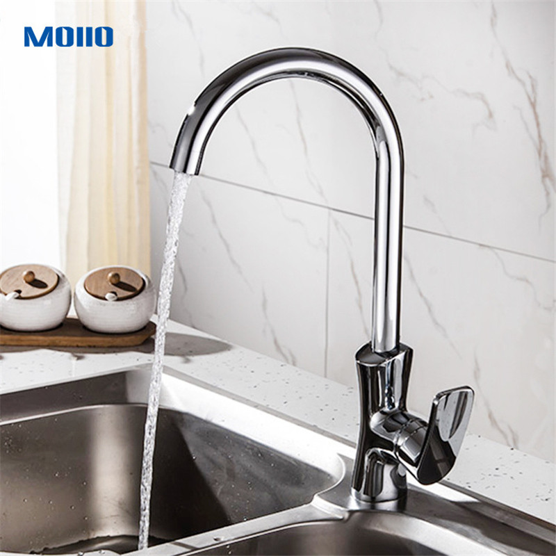 Moiio Kitchen Faucet 360 Degree Rotation Rule Shape Curved Outlet Pipe Tap Basin Plumbing Hardware Brass