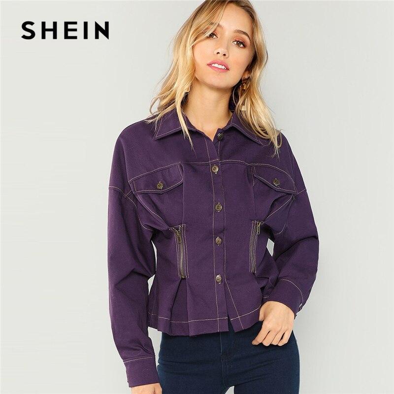 Шеин фиолетовый из хлопка на молнии подробно на пуговицах пальто Однобортный Куртки с длинными рукавами Новинки для женщин Мода Осень ...