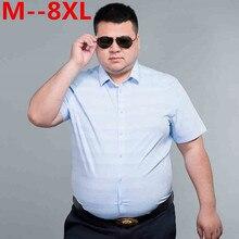 Плюс размер 10XL 8XL 6XL 5X летняя стильная полосатая рубашка для мужчин хлопок Camisa Slim Fit брендовая одежда короткий рукав мужская рубашка саржа