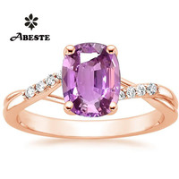 ANI 18K Rose Gold (AU750) Women Diamond Engagement Ring Oval/Pear Cut Natural Unheated Pink Sappire Ring anelli Customized