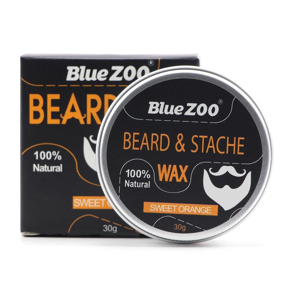 New 1 Box 30g Natural Organic Facial Beard Wax Beard Care Cream Tasteless Sandalwood Orange Eucalyptus 4 Taste Choice TSLM2