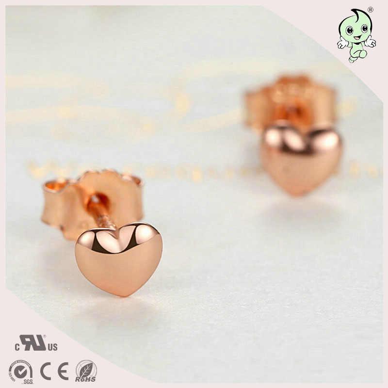 Rất Đáng Yêu Và Dễ Thương Mini Hình Trái Tim Hoa Hồng Vàng Bạc 925 Bông Tai Bông