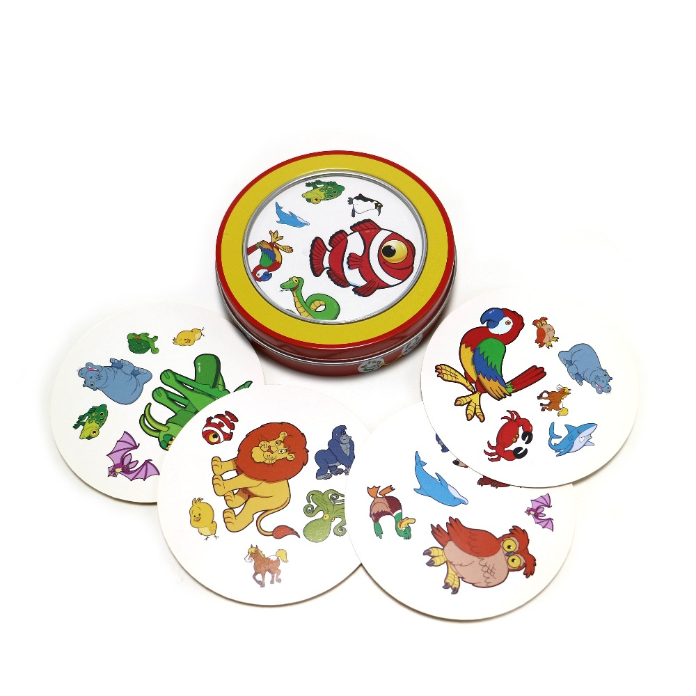 2018 cards game spot animal English version it has tin box 31 cards for home kids party board game