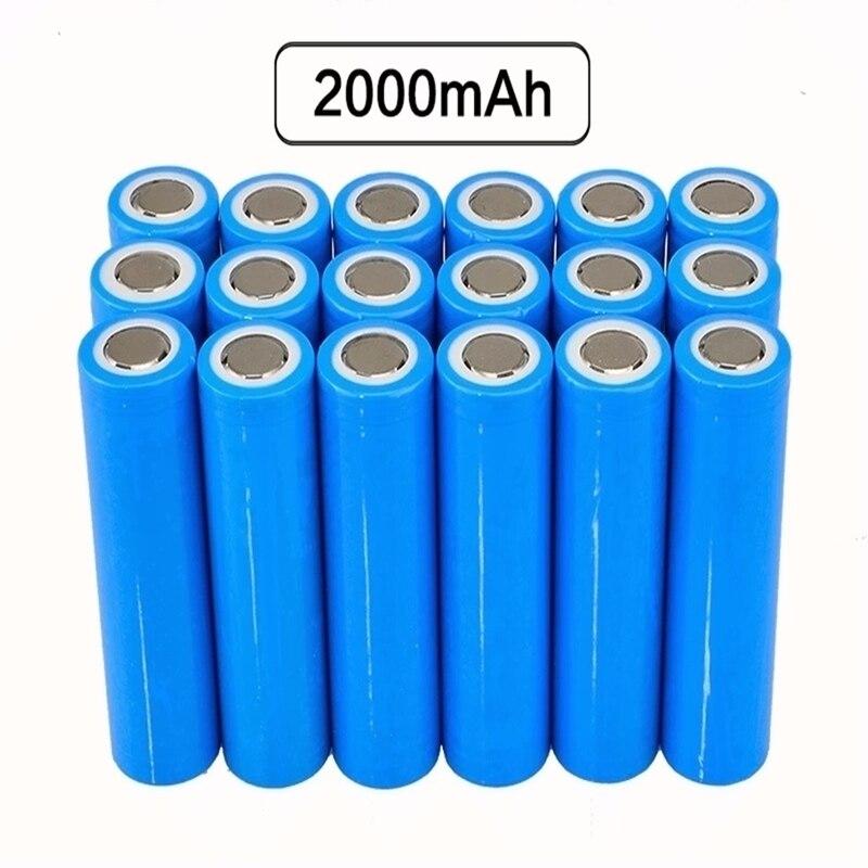 GTF 18 pièces 18650 batterie 3.7 v batterie rechargeable Li-ion 18650 batterie réelle pleine capacité 2000 MAH Batteries au lithium rechargeables