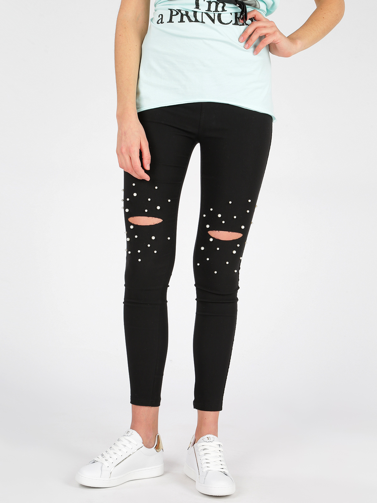 Ripped Leggings With Pearls