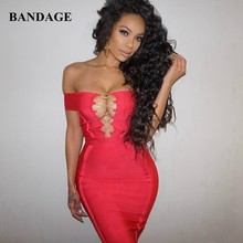 Hot Verkoop Off The Shoulder Vrouwen Bandage Jurk Rood Zwart Zomer Mini Jurken Sexy Slash Hollow Out Celebrity Party Club vestido(China)