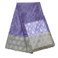 High Quality Embroidery African French Net Lace Lilac/Gold Nigerian Bridal Fabric For Night Dress X798 1