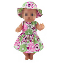 Doll Clothes Fit 18 inch 43cm Born Baby Boy Girl Hat and Flower Skirt Suit accessories For Gift