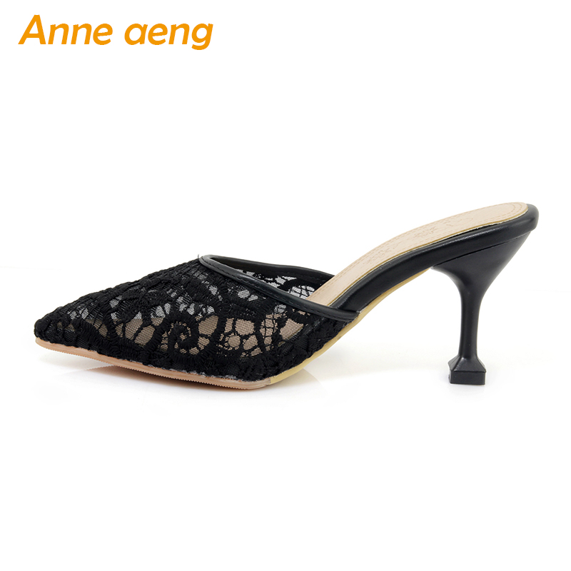 spring summer women air mesh flippers thin high heel pointed toe comfortable sexy mules ladies slides outdoor gold women shoes new 2017 spring summer women shoes pointed toe high quality brand fashion womens flats ladies plus size 41 sweet flock t179