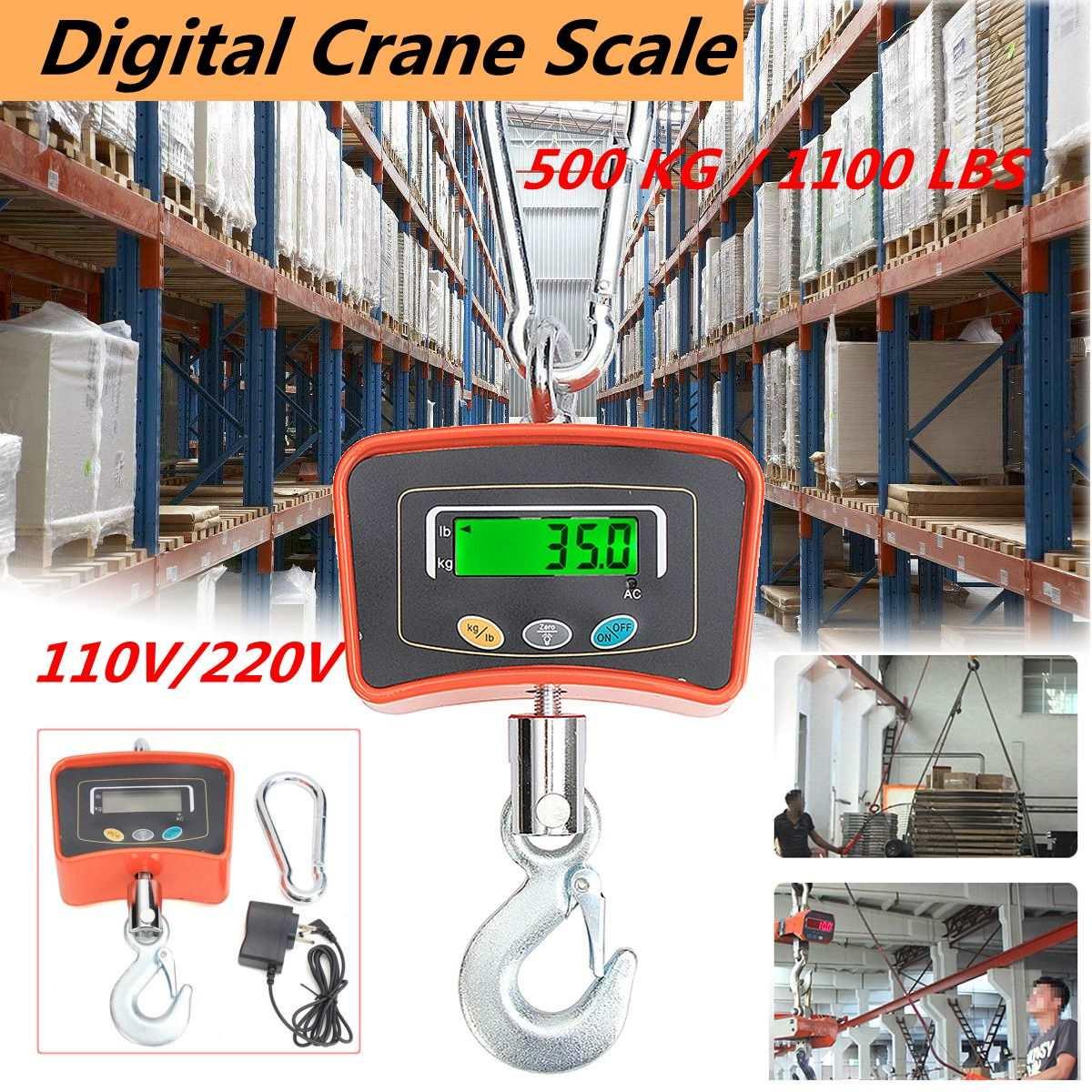 500 кг/1100 фунтов цифровой крановые весы 110 В/220 В тяжелых Весы Крановые промышленные электронные весы инструменты
