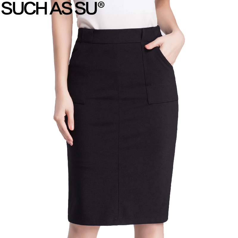 fa1420559e Brand New Spring Summer 2017 Pencil Skirts Womens Sexy Slim Black High  Waist Skirts Knitted Occupation