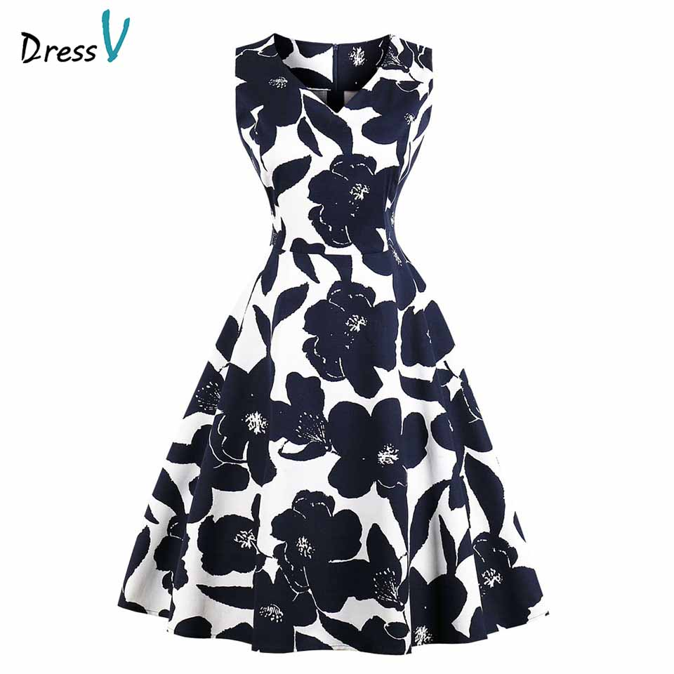 Dressv Print Elegant Homecoming Dress A Line V Neck Sleeveless Ruched Zipper Up Knee Length Homecoming&graduation Dresses(China)
