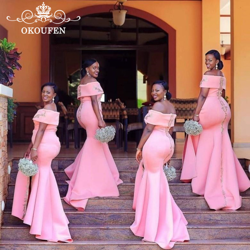 Mode longues robes de demoiselle d'honneur sirène rose avec Appliques en argent perles col bateau longue robe de demoiselle d'honneur fête pour les femmes