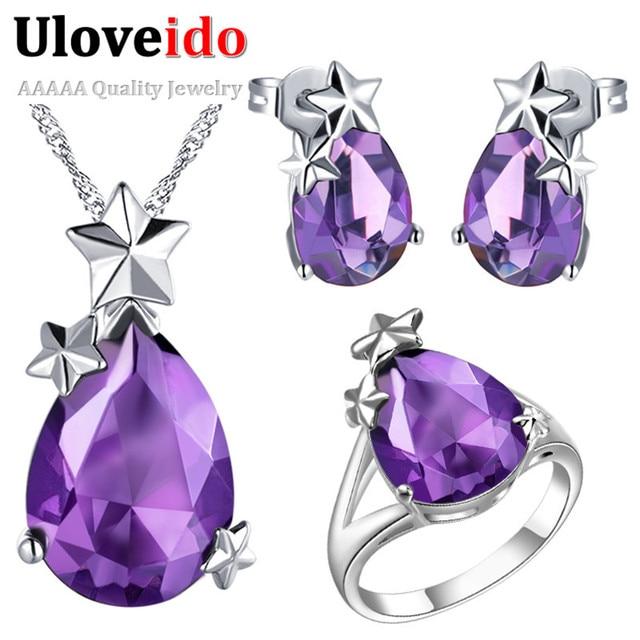 Uloveido Women Pear Shape Stones Silver Jewelry Set Earrings Necklace Ring Set Purple Blue Red Crystal Fashion Jewelry T210