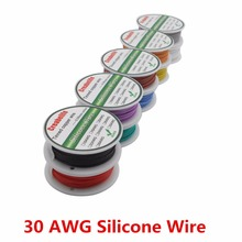 цена на 10m 30 AWG Flexible Silicone Wire 10 Colors RC Cable Line With Spool OD 1.2mm Tinned Copper Wire Electrical Wire