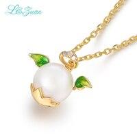 I & zuan Merk Luxe 0.008ct natuurlijke diamant zoetwaterparels angel hanger & 18 K gold ketting fijne sieraden voor women-5