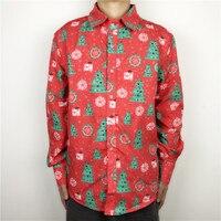 Rode Lelijke Kerst Shirt voor Mannen Unieke Gebogen Mannelijke Kerst Party Smoking Overhemd Lange Mouw Oversized M-2XL