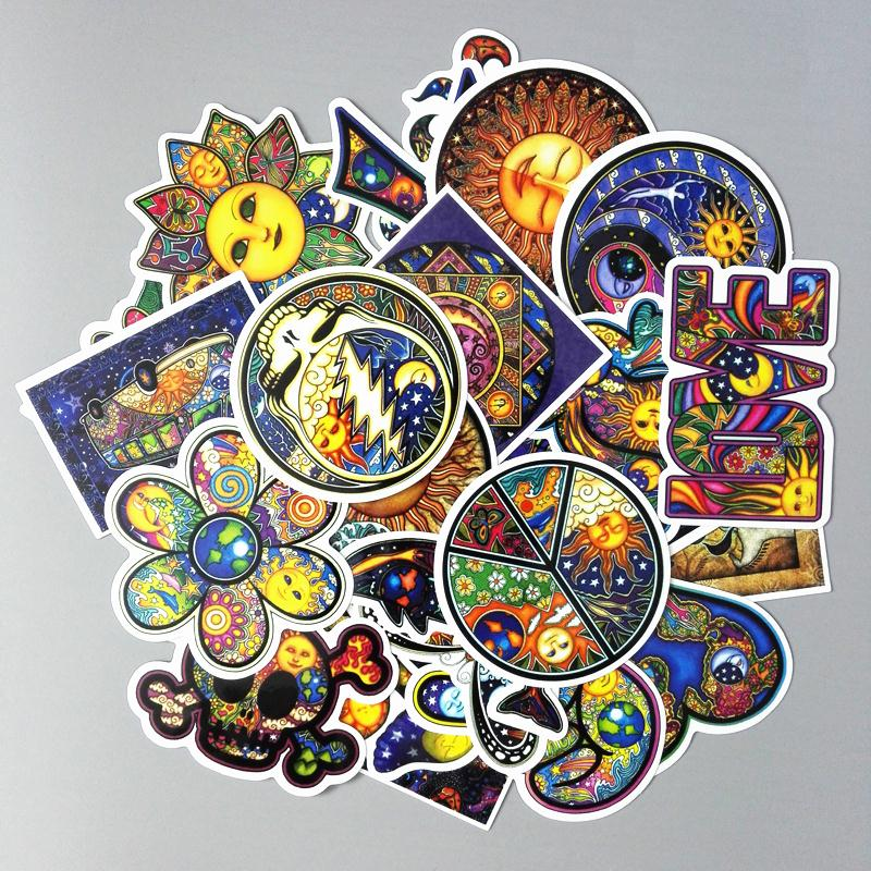 25Pcs/Lot Colorful Sun Moon Wishing World Peace Style Laptop Luggage Skateboard Motorcycle Car Sticker PVC Waterproof Stickers