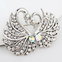 Stylish Elegant Women's Swan Brooch Pin Bridal Wedding Party Daily Jewelry Gift