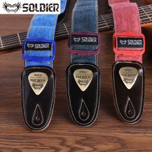 Soldier Cowboy Guitar Strap Leather Ends Acoustic Electric Guitar Strap Bass Straps Adjustable Shoulder Belt Guitar Accessories handmade leather guitar bass straps can be customized guitar accessories