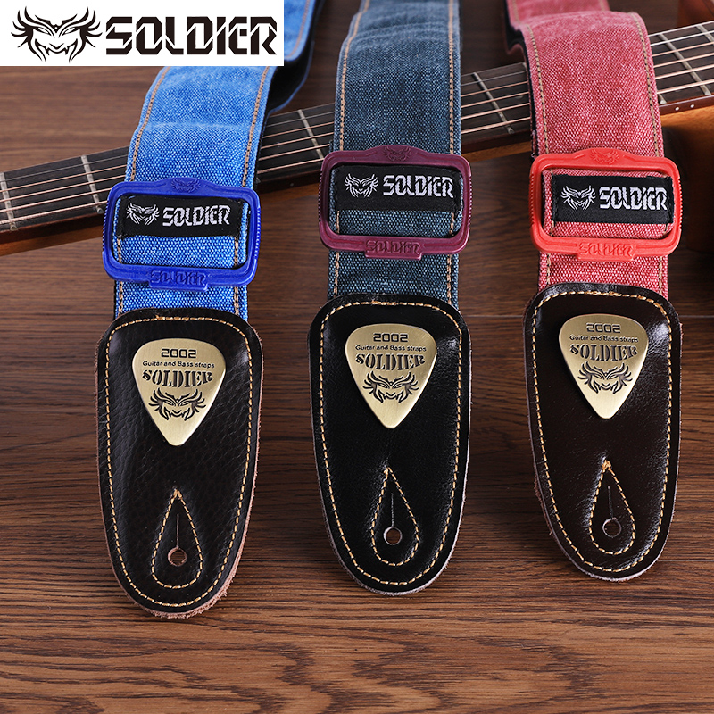 Soldier Cowboy Guitar strap Leather Ends Acoustic Electric Guitar Strap Bass Straps Adjustable Shoulder Belt Guitar Accessories nylon knitting acoustic guitar strap leather head cotton electric guitar bass strap classical guitar belt strap polyester straps