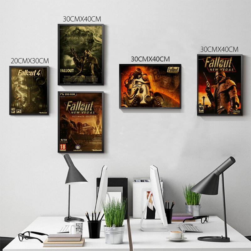 Vintage Fallout 3 4 Game Poster Home Furnishing decoration Kraft Game Poster Drawing core Wall stickers