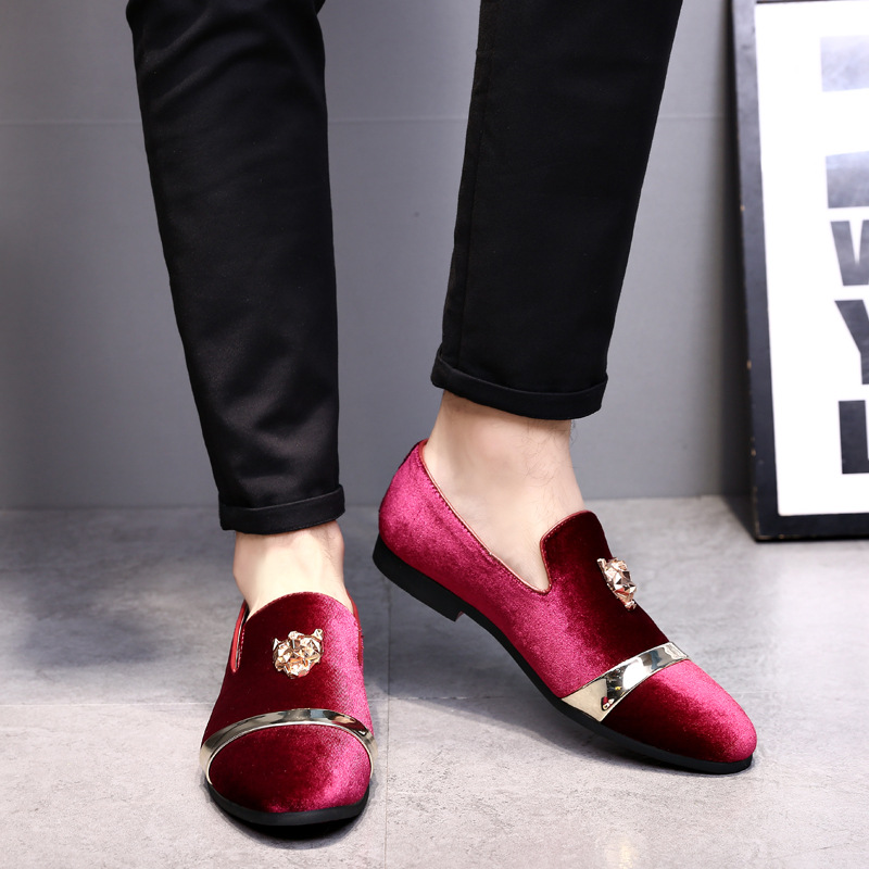 European Style Men Wedding Shoes  Gentleman Classic Business Shoes Matte Leather Shoes For Men Tiger Gold Buckle Casual Shoes