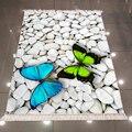 Еще белый серый Галька Камни синий зеленый Бабочка 3d печать микрофибра противоскользящая задняя моющаяся декоративная зона килим ковер