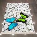 Else White Gray Pebble Stones Blue Green Butterfly 3d Print Microfiber Anti Slip Back Washable Decorative Kilim Area Rug Carpet