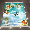 Else Blue Sky белые облака оранжевая синяя бабочка 3d принт микрофибра Противоскользящий задний моющийся декоративный ковер