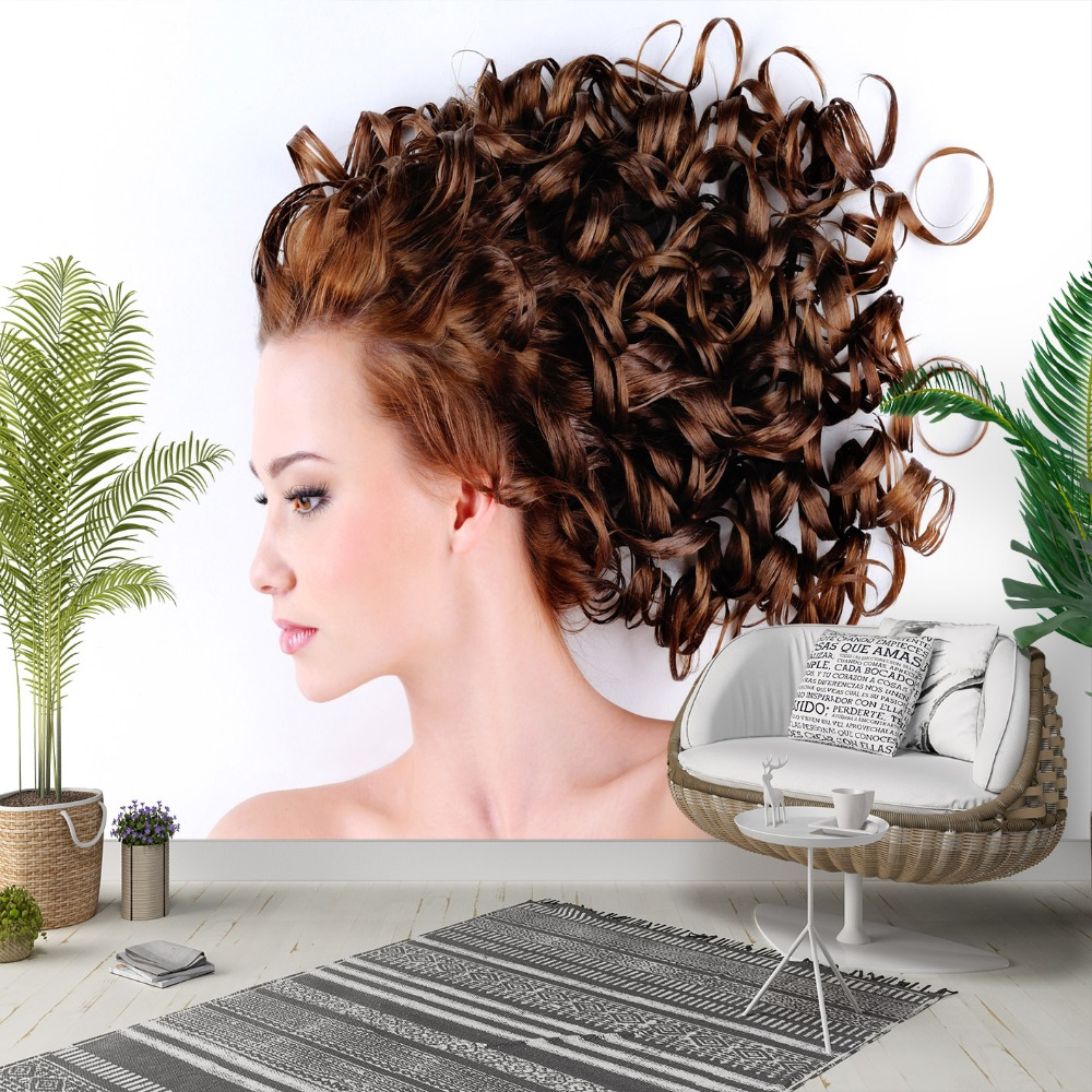 Else Brown Curly Hair Women Hairdresser 3d Photo Cleanable Fabric Mural Home Decor Living Room Bedroom Background Wallpaper