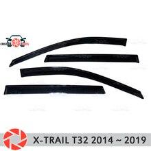 Окна отражатель для Nissan X-Trail T32 2015-2019 дождь дефлектор грязи Защитная оклейка автомобилей украшения аксессуары для литья под давлением