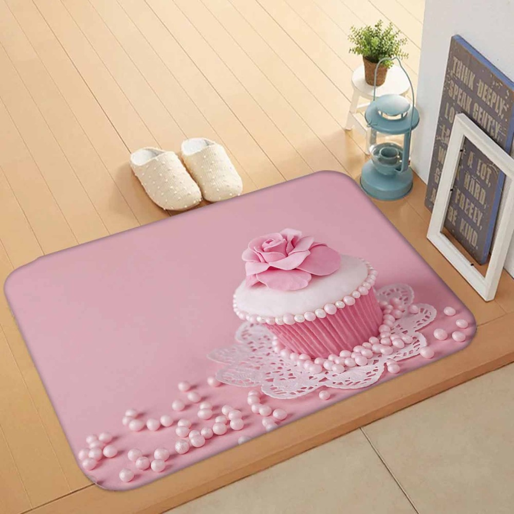Else Pink Sweet Candy Cup Cakes Red Roses 3d Pattern Print Anti Slip Washable Doormat Home Decor Entryway Kitchen Mat