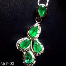 6a6c52d3222c KJJEAXCMY boutique joyería de plata de ley 925 con incrustaciones de plata  colgante Esmeralda natural collar