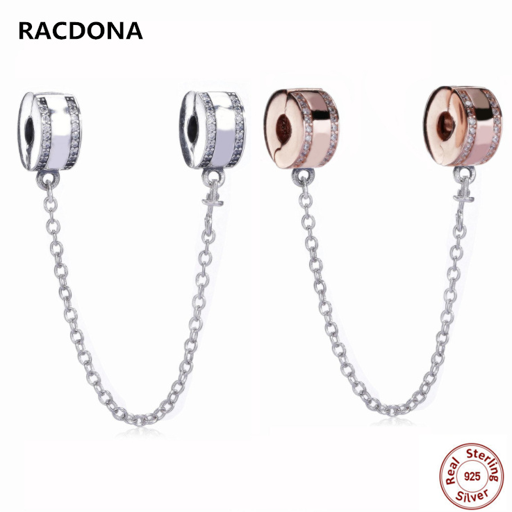 2018 New 100% 925 Sterling Silver Signature Clip Safety Chain With CZ Fit Original pandora Bracelet Charm Beads DIY Jewelry