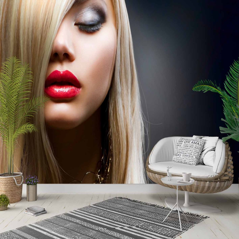 Else Blonde Hair Red Lips Women Hairdresser 3d Photo Cleanable Fabric Mural Home Decor Living Room Bedroom Background Wallpaper