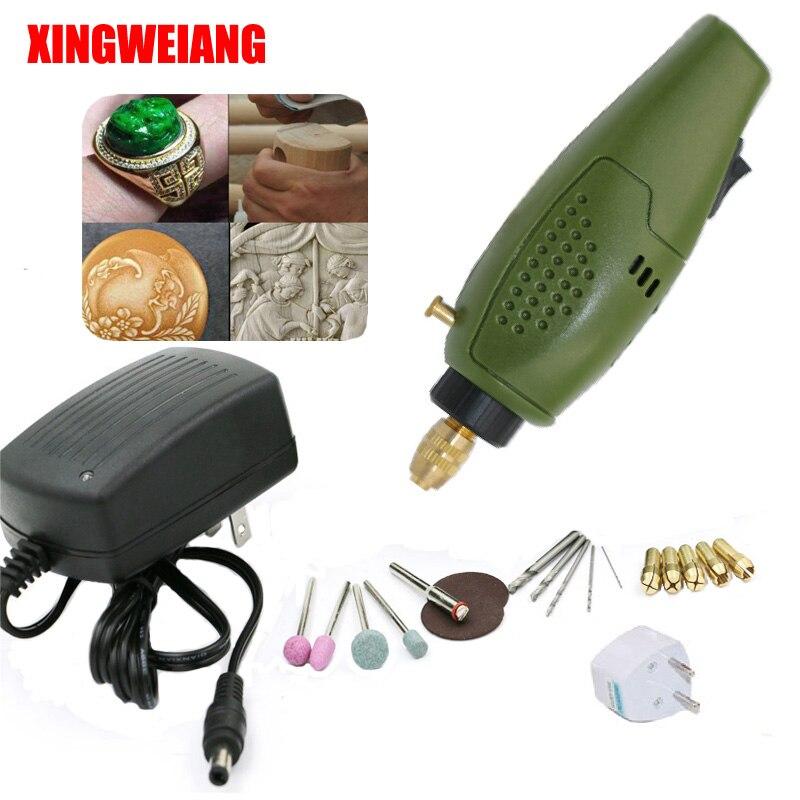 XINGWEIANG Mini accessori trapano Elettrico Rettifica Elettrico Set 12 V DC Strumento Grinder per Fresatura Incisione di Lucidatura di Perforazione