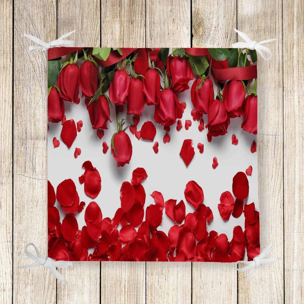 Else Red Roses Romantic Leaves Flower 3d Print Chair Pad Seat Cushion Soft Memory Foam Full Lenght Ties Non Slip Washable Zipper
