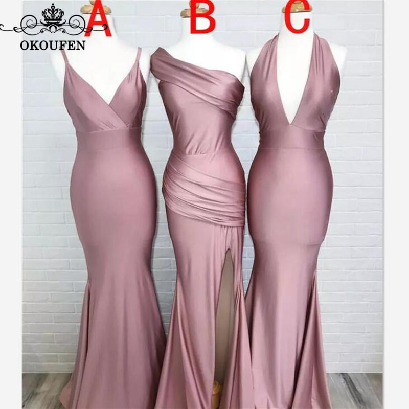 2019 Long Mermaid Bridesmaid Dresses For Women Wholesale Price Stretchy Satin Corset Back Wedding Guest Maid Of Honor Dress