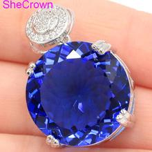 Big Roung Gemstone 20x20mm Rich Blue Violet Tanzanite CZ Silver Pendant 30x20mm